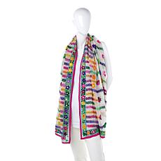 Clever Carriage Sardinia Handembroidered Floral Wrap