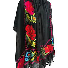 Clever Carriage Summer Floral Embroidered Silk Scarf