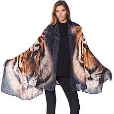 Clever Carriage Tiger Print Silk Scarf