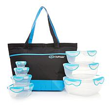 ClipFresh 14pc Nesting Food Storage Container Set with Insulated Bag