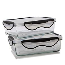 ClipFresh 2-pack Rectangular Airtight Glass Food Storage Containers