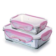 ClipFresh 4-piece Glass Rectangular Food Storage Container Set