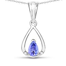 "Colleen Lopez 0.36ctw Tanzanite & Zircon Drop Pendant with 18"" Chain"