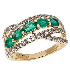 Colleen Lopez 10K Gold Gemstone and White Zircon Ring