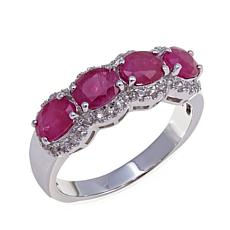 Colleen Lopez 1.77ctw Burmese Ruby & White Zircon Ring