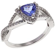 Colleen Lopez 1ctw Purple Tanzanite and White Zircon Trilliant Ring