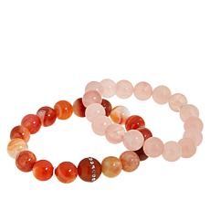 Colleen Lopez 2-piece Gemstone Bead Bracelet Set