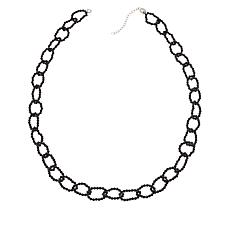 "Colleen Lopez 24"" Black Spinel Link Necklace with Magnetic Clasp"