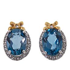 "Colleen Lopez 2.72ctw London Blue Topaz and White Topaz ""Bow"" Earrings"