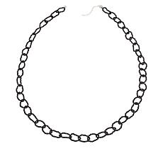 """Colleen Lopez 32"""" Black Spinel Link Necklace with Magnetic Clasp"""