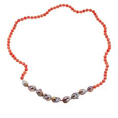 "Colleen Lopez 34"" Baroque Cultured Pearl and Gemstone Bead Necklace"
