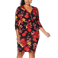 Colleen Lopez 3/4-Sleeve Cinched Twist Front Dress