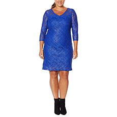 Colleen Lopez 3/4-Sleeve Metallic Lace Dress