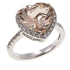 Colleen Lopez 3.5ctw Morganite and Zircon Sterling Silver Heart Ring