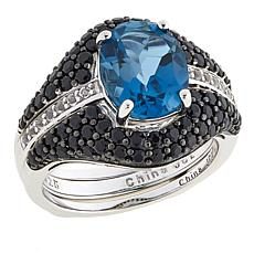 Colleen Lopez 3.98ctw London Blue Topaz and Gem Ring Guard Set