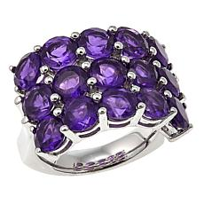 Colleen Lopez 6.9ctw Amethyst 3-Row Sterling Silver Band Ring
