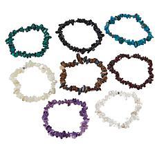 Colleen Lopez 8-piece Gemstone Chip Stretch Bracelet Set