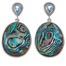 Colleen Lopez Abalone and Blue Topaz Sterling Silver Drop Earrings