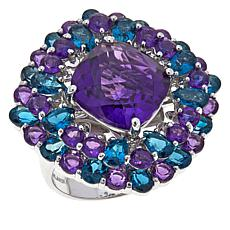 Colleen Lopez African Amethyst and London Blue Topaz Ring