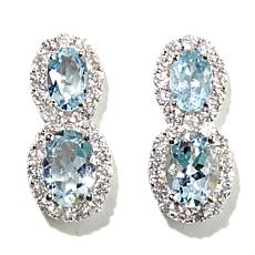 Colleen Lopez Aquamarine & White Zircon Drop Earrings