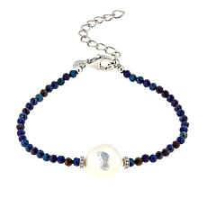 """Colleen Lopez Baroque Cultured Freshwater Pearl and Spinel 7"""" Bracelet"""