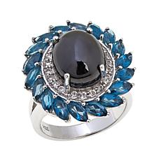 Colleen Lopez Black Diopside and London Blue Topaz Ring