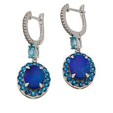 Colleen Lopez Blue Opal Doublet and Neon Blue Apatite Drop Earrings