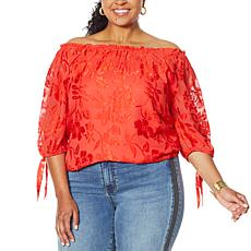 Colleen Lopez Burnout Convertible Neck Blouson Top
