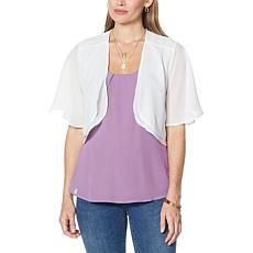 Colleen Lopez Chiffon Flutter-Sleeve Cropped Topper