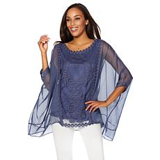 Colleen Lopez Chiffon Poncho Top with Embroidery