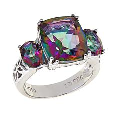 "Colleen Lopez ""Dancing Light"" Quartz 3-Stone Sterling Silver Ring"