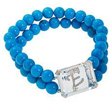 Colleen Lopez Diamond Initial Magnesite Bead Stretch Bracelet
