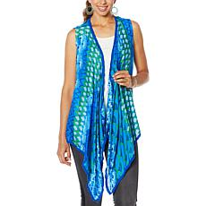 Colleen Lopez Drape-Front Vest with Pom Pom Trim