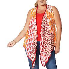Colleen Lopez Drape-Front Vest with Pom Pom Trim