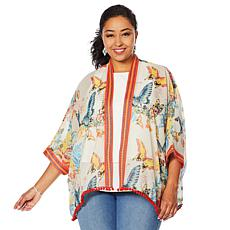 Colleen Lopez Embroidered Kimono Topper with Pompom Trim