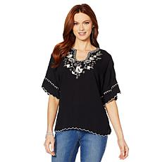 Colleen Lopez Embroidered Poncho Top