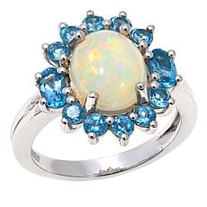Colleen Lopez Ethiopian Opal and Blue Topaz Ring