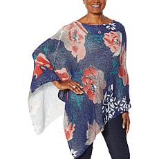 Colleen Lopez Floral-Print Knit Poncho