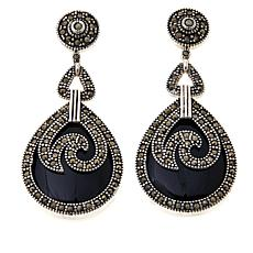 Colleen Lopez Gem and Marcasite Drop Earrings
