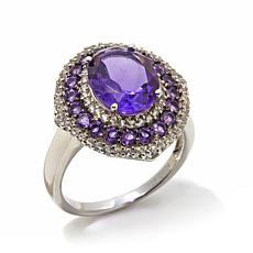 Colleen Lopez Gemstone and White Zircon Oval Ring