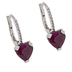 Colleen Lopez Indian Ruby and White Zircon Heart Earrings