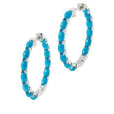 Colleen Lopez Kingman Turquoise Inside-Outside Hoop Earrings