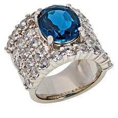 Colleen Lopez London Blue Topaz and White Zircon Band Ring
