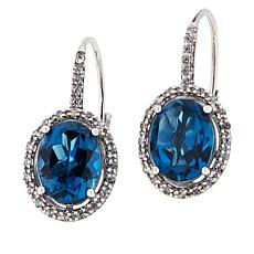 Colleen Lopez London Blue Topaz & White Zircon Leverback Drop Earrings