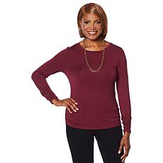 Colleen Lopez Long-Sleeve Tee with Ruching Detail