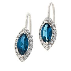 Colleen Lopez Marquise London Blue Topaz and White Zircon Earrings