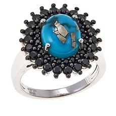 Colleen Lopez Mexican Turquoise and Black Spinel Sterling Silver Ring