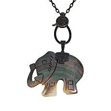 Colleen Lopez Mother-of-Pearl and Black Spinel Animal Enhancer Pendant