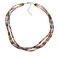Colleen Lopez Multi Tourmaline 3-Strand Necklace with Magnetic Clasp
