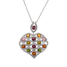 Colleen Lopez Multi Tourmaline & White Zircon Heart Pendant with Chain